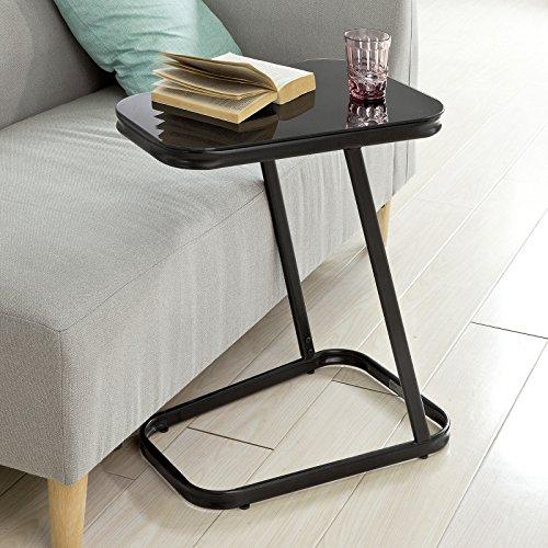 SoBuy FBT43-Sch Table d'Appoint Moderne Table Basse Bout de canapé à café en Métal et Verre trempé– Noir