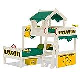 WICKEY Etagenbett CrAzY Jungle Hochbett Doppel-Kinderbett 90x200 mit Lattenboden und Dach, grün-gelb + weiße Farbe