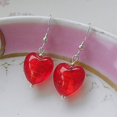 Diana Ingram light red Murano glass small heart (13mm) earrings