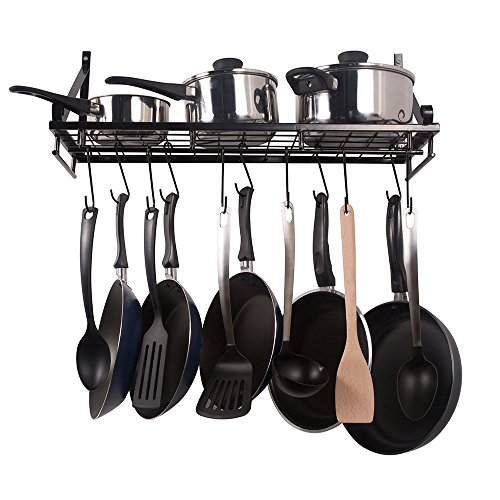 ZPOKA Kitchen racks,Wall Pot Pan Rack,With 10 Hooks,Black
