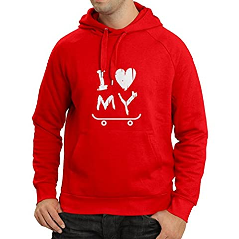 N4198H Hoodie I Love my Skate ! t-shirt (Small Red White)