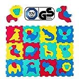 Hakuna Puzzelmat voor baby's – TÜV SÜD GS gecertificeerd – 12 tegels met dieren in een verpakkingsdoos – 20% dikkere speelmat – 4 oppervlaktetypes – 1,2 x 0,9 m, winnaar 2018 *