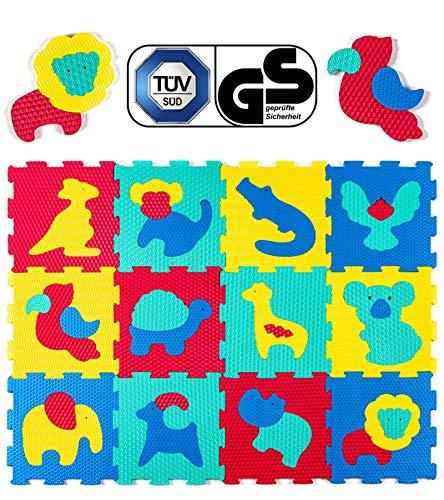 Hakuna Matte Puzzlematte für Babys - TÜV SÜD GS Zertifiziert - 12 Fliesen mit Tieren in Einer Aufbewahrungstasche - 20% dickere Spielmatte - 4 Oberflächentypen - 1,2x0,9m, Vergleichsieger 2018*