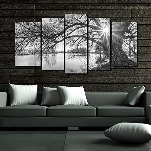 Cuadro en Lienzo - Decoración del hogar - Arbol blanco y negro - Cuadro en lienzo tejido-no tejido 5 Partes,C