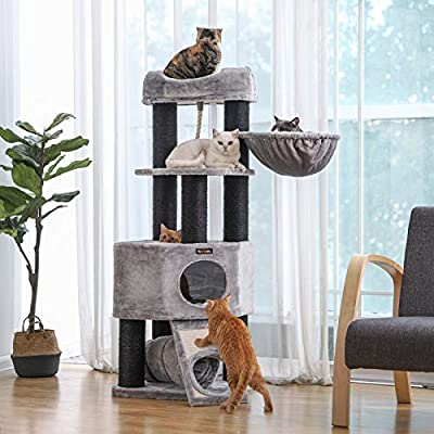 FEANDREA Cat Tree, Large Cat Tower with Fluffy Plush Perch, Cat Condo with Basket Lounger and Cuddle Cave, Extra Thick Posts Completely Wrapped in Black Sisal, Stable, Comfortable, Light Grey PCT02W by FEANDREA
