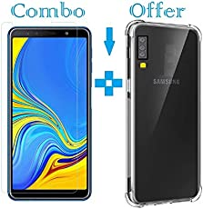 Sanguine Tempered Glass & Back Cover Best Quality [Bumper Transparent] 9H Glass Soft Back Case for Samsung Galaxy A7 2018