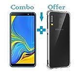 #4: Sanguine Tempered Glass & Back Cover Best Quality [Bumper Transparent] 9H Glass Soft Back Case for Samsung Galaxy A7 2018