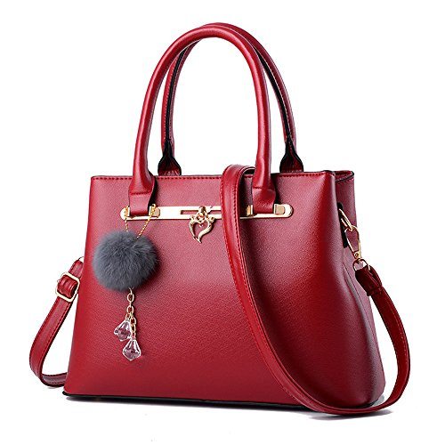 FavoMode, Borsa a mano donna nero Black Handbag taglia unica Red Handbag