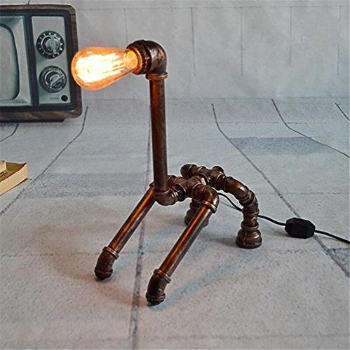 BZJBOY Lampada da Scrivania Giraffe industriale epoca battuto tubi di ferro di acqua da tavolo lampada da letto soggiorno dimmerabile fatta a mano Lampada da comodino Lampada da tavolo Light Desk
