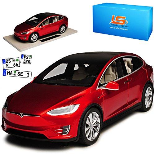 LS Collectibles Tesla Model X Rot Ab 2015 1/18 Modell Auto mit individiuellem Wunschkennzeichen