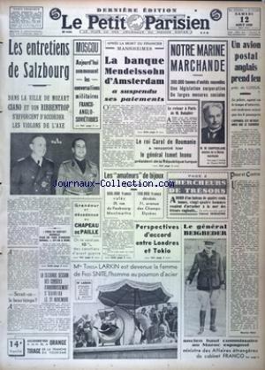 PETIT PARISIEN DERNIERE EDITION (LE) [No 22809] du 12/08/1939