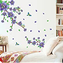 vinilo adhesivo de pared diseo de flores moradas y hojas verdes extrable para