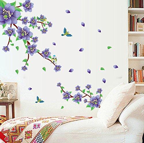 Etiqueta de la pared Flores púrpuras Hojas verdes Pegatina de la casa Decoración de la casa Papel de pared Sala de estar extraíble Comedor Arte Cuadro de imagen DIY Stick Girls Niños niños Guardería B