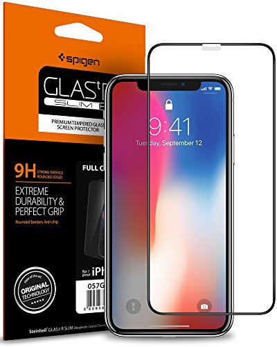 Spigen Full Coverage Tempered Glass Screen Protector for Apple iPhone X Glass - Black (1Pack) 057GL22986