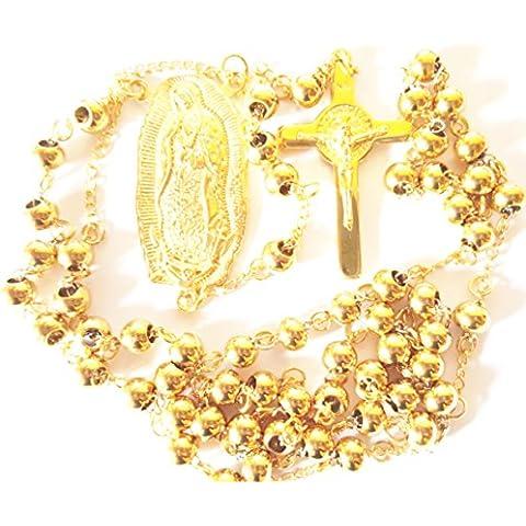Rosario 6mm de cuentas collar con cruz Gold Filled Nuestra Señora de Guadalupe St Benedict Religiosa Católica