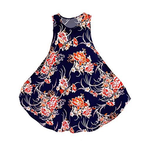 LOPILY Sommerkleider Plus Size Blumen Druckkleider Übergrößen Midikleider Lose Kühle Material Kleid Strandkleider Hohen Taillen Kleid Ärmellos Kleider Weicher Kleider XXL 5XL (Blau, EU-48/CN-5XL)