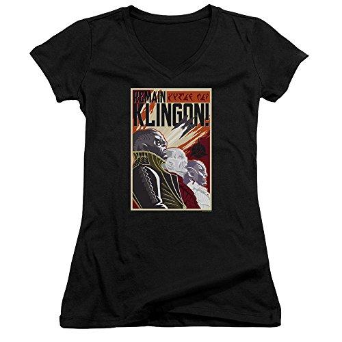 Star Trek Remain Klingson Poster Women's Sheer Fitted V-Neck T Shirt
