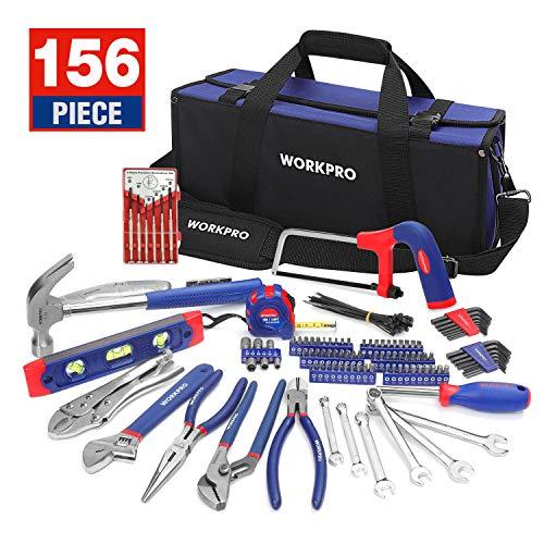 WORKPRO Werkzeug Set,156tlg. tägliche Handwerkzeuge Werkzeugtasche mit weiter Öffnung für Home Reparatur, Heimwerker