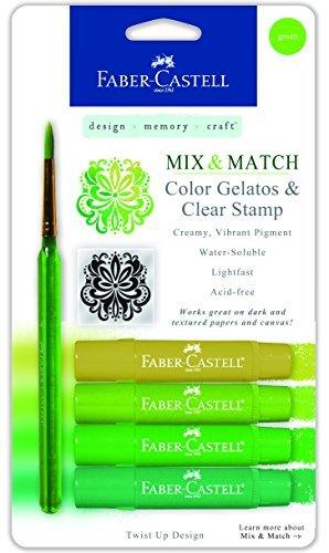 Faber-Castell Mix & Match Gelatos Stick W/Clear Stamp 4/Pkg Green by Faber-Castell