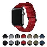 Archer Watch Straps   Premium Nylon Armband für Apple Watch   Schnallen und Adpaters in Edelstahl und Schwarz Farben   Uhrenarmband für Herren und Damen   Rot/Schwarz, 38mm