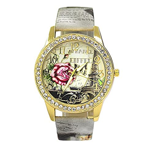 Bluelans® Rose Flower Printed Dial Faux Leather Strap Watch Ladies Dress Quartz Watches (Grey)