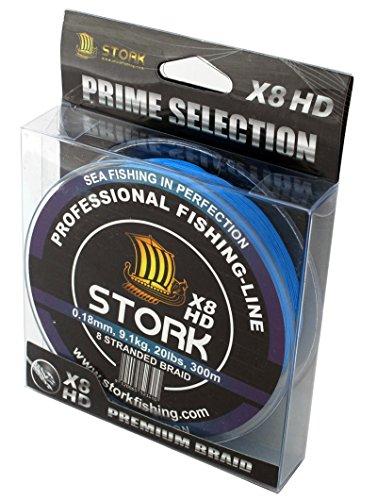 Stork HDx8, 8-Fach geflochtene premium Angelschnur 300m (Blau, 20 lbs / 9.1 kg / 0.18 mm)