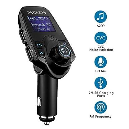 Patiszon-Bluetooth-FM-Transmitter-KFZ-Auto-Radio-Adapter-freisprecheinrichtung-Car-Kit-integriertem-mit-2-USB-Ladegert-35-mm-AUX-TF-Karten-Slot-fr-iPhone-Samsung-iPad-HTC-Usw