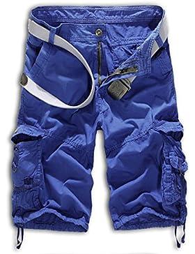 Herren Cargo Shorts Bermuda Hose Urban Vintage Legend Kurze 3/4 Sommer Airborne Knielänge Outdoor