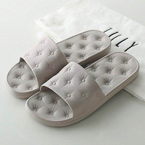DogHaccd pantofole,Cool pantofole estate coppie femmina home soggiorno in bagno antiscivolo home bagno pantofole uomini e soft piano terra cool pantofole Grigio1