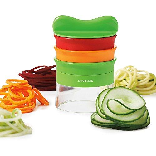 3 Klingen Spiralschneider Set, Gemüsespaghetti kartoffel, Zucchini Spargelschäler, Gurkenschneider, Gurkenschäler , Gemüsehobel, Möhrenreibe Möhrenschäler , von CHARLLEAN