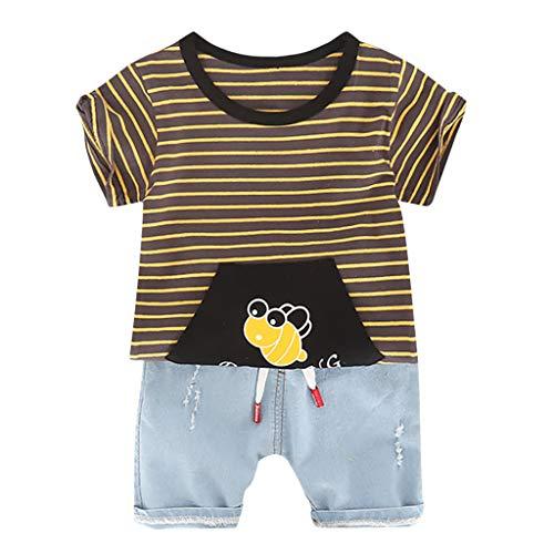 Anzug FüR Kinder Cartoon Biene Streifen Tops T-Shirt CowShorts Outfits Set
