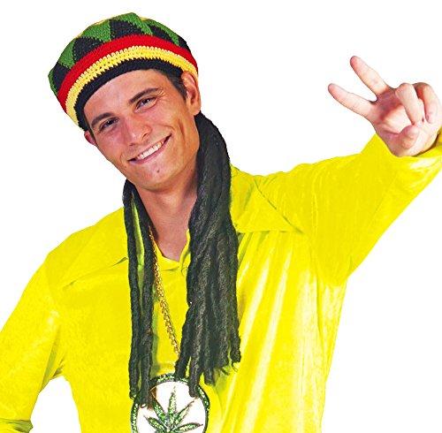 Hawaiianer Kostüm - Jamaika Strickmütze mit schwarzen Rastazöpfen - Cooles Accessoire zu Ihrem Kostüm als Hippie, Hawaiianer, Afrikaner mit Dreadlocks