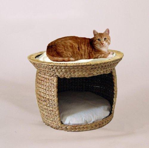 *Silvio Design Katzenbett, Katzenkissen, Katzen-Korbturm aus Wasserhyazinthe, Ø 54 cm, Höhe: 37 cm*