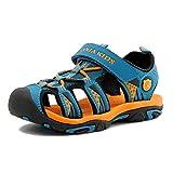 Aimee Sommer Strand Geschlossene Sandalen Klettverschluss Outdoor Wanderschuhe Ultraleicht Breathable Schuhe Flach Jungen Mädchen Kinder(EU 30 --- Schuhe Innenlänge 19.0cm,Blau)