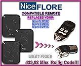 Nice FLO1RE / Nice FLO2RE / Nice FLO4RE compatible mando a destancia 433,92Mhz rolling code, 4-canales reemplazo transmisor Al mejor precio!!!