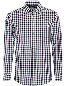 Almsach Trachtenhemd ignaz Regular Fit Mehrfarbig in Lila und Dunkelgrün Inklusive Volksfestfinder