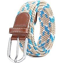 c9b38ad93 BOZEVON Cinturón elástico tejido - Multi-colores Cinturón de tejido  elástico trenzado la tela de