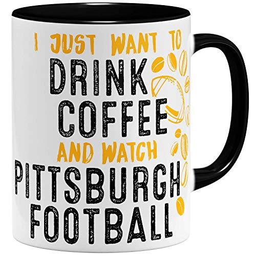 OM3® - Pittsburgh-Coffee - Tasse | Keramik Becher | American Football Mug | 11oz 325ml | Beidseitig Bedruckt | Schwarz -