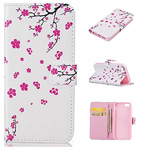 Coque Etui pour iPhone 5, iPhone 5S Coque Dragonne Portefeuille PU Cuir Etui, Apple iPhone SE / 5S / 5 Coque de Protection en Cuir Folio Housse, Apple iPhone SE / 5S / 5 Leather Case Wallet Flip Protective Cover Protector, Cozy Hut Etui de Protection PU Cuir Portefeuille fleur de pêche motif Coque Housse Swag Case Cover Coquille Couverture avec Fonction Stand et Fentes de Carte de Crédit pour Apple iPhone SE / 5S / 5 - Petite pêche