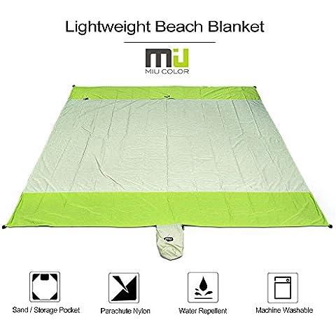 Miu Color® Compatto e leggero spiaggia coperta–216x 206cm impermeabile e a prova di sabbia coperta pieghevole in nylon da paracadute resistente, ideale per pic-nic spiaggia campeggio eventi sportivi, colore: verde