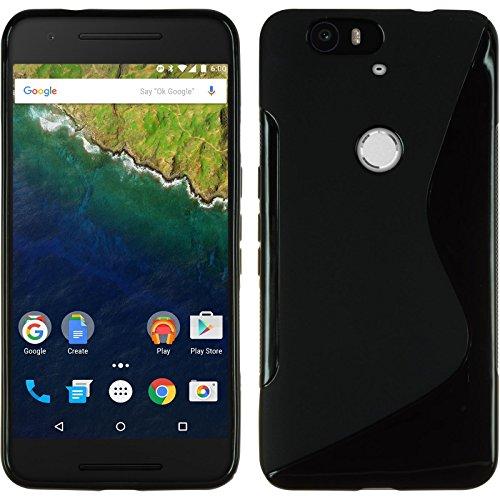 PhoneNatic Case kompatibel mit Google Nexus 6P - schwarz Silikon Hülle S-Style + 2 Schutzfolien