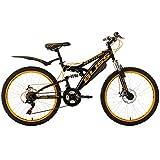 "Children's Mountain Bike 24"" Bliss Black-Yellow 18 Gears KS Cycling"