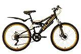 KS Cycling Kinder Fahrrad Jugendfahrrad Mountainbike, Schwarz/Gelb, 24