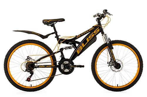 """KS Cycling Bliss VTT tout suspendu Enfant Noir/Jaune 24"""" 38 cm"""