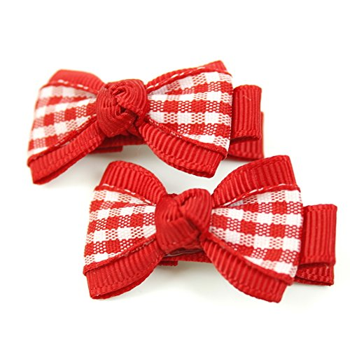 rougecaramel - Accessoires cheveux - Pince cheveux enfant 2pcs motif carreau - rouge
