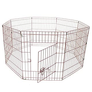 Aleko SDK-30P Heavy Duty Pet Playpen Dog Kennel Pen Exercise Cage Fence 8 Panel 30 x 24 Inches pink