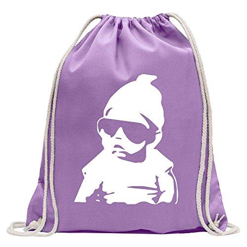 Kiwistar Baby an Bord Kleinkinder Turnbeutel Fun Rucksack Sport Beutel Gymsack Baumwolle mit Ziehgurt (T-shirt Lavendel Kleinkind)