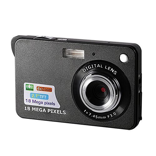 CamKing Digitalkamera, 2,7 Zoll TFT LCD HD Mini Digitale Kompaktkameras, 18 MP HD Zoom Videokamera für Rucksacktouren, Erwachsene/Senioren/Kinder(Schwarz) -