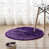 ZHONGYU Runde Weiche Kunstfell-Bodenteppich, zotteliger Teppich, weicher Flauschiger Stuhlbezug, Kunstfell, Sitzkissen, Schlafzimmer Sofa, Teppich, violett, 40 cm