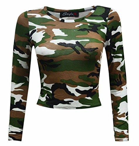 You Plus Donna Collo Rotondo Slim Fit Skinny Crew Full a Maniche Lunghe Leopard Camouflage Skull Rose Tartan Stampa Short Crop Top Gilet Taglia: 8–14–EU: 36–42 Green Camouflage
